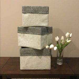 Set of 3 Nesting Fabric Lined Storage Boxes